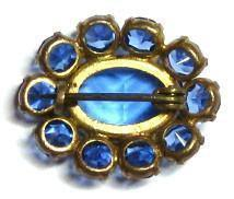 Antique Victorian Blue Glass Brooch