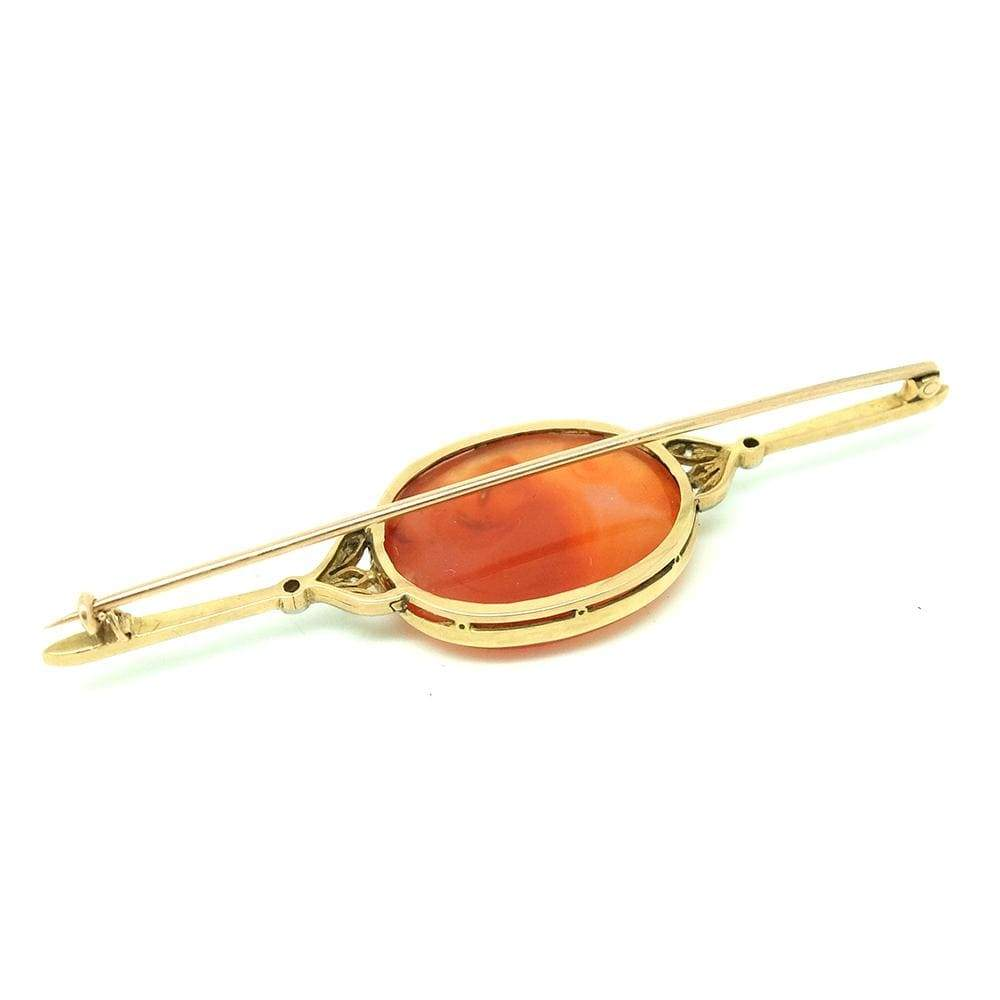 VICTORIAN Brooch Antique Victorian Diamond Agate 15ct Yellow Gold Brooch