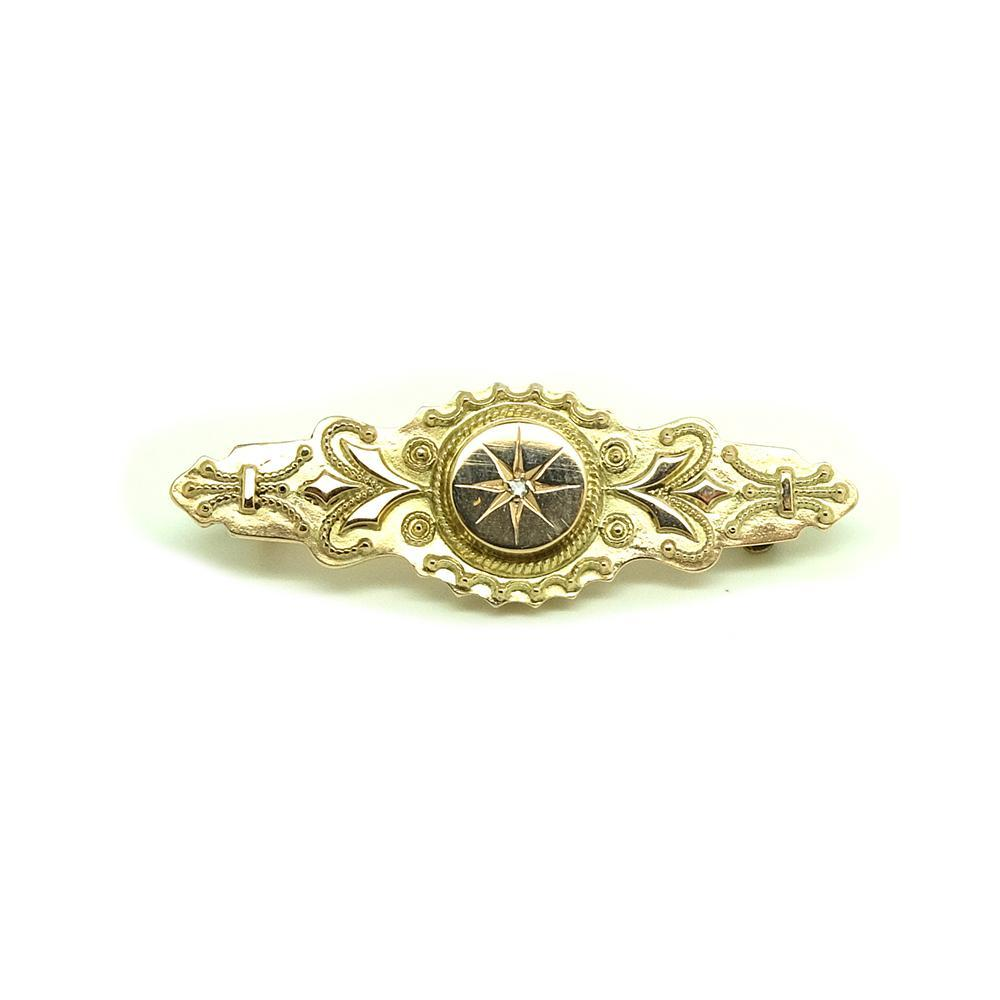 Antique Victorian Diamond Gold Brooch
