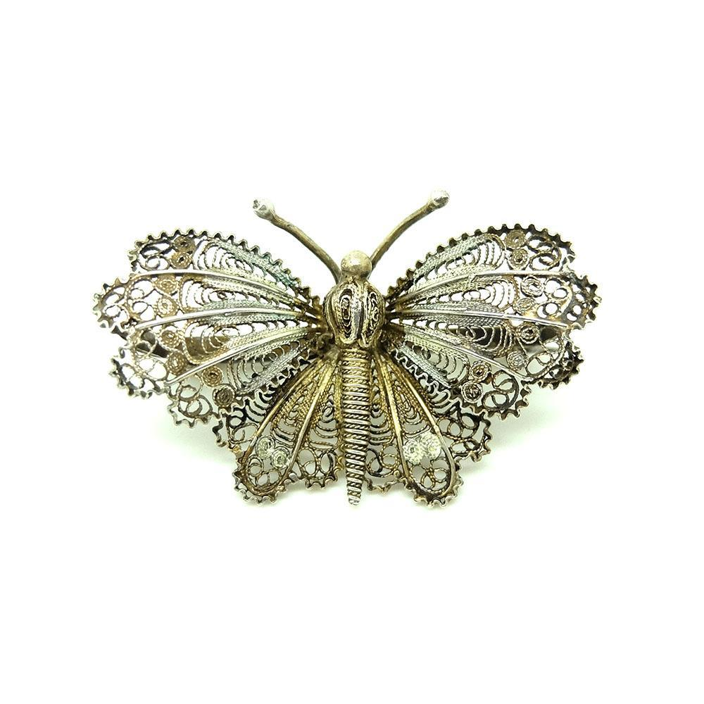Antique Victorian Filigree Moth Butterfly Silver Brooch
