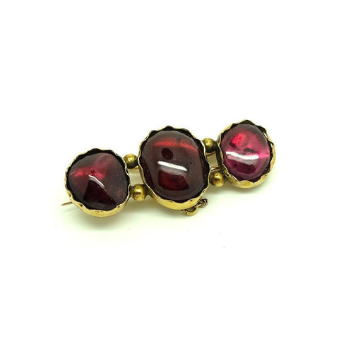Antique Victorian Foil Backed Glass Garnet 15ct Gold Brooch