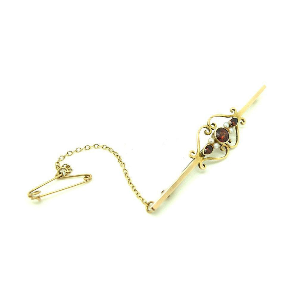 Antique Victorian Garnet 9ct Gold Bar Gemstone Brooch