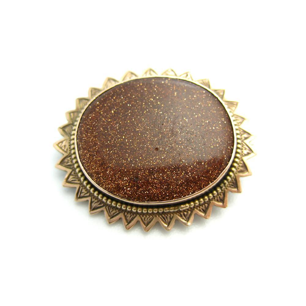 Antique Victorian Goldstone Brooch