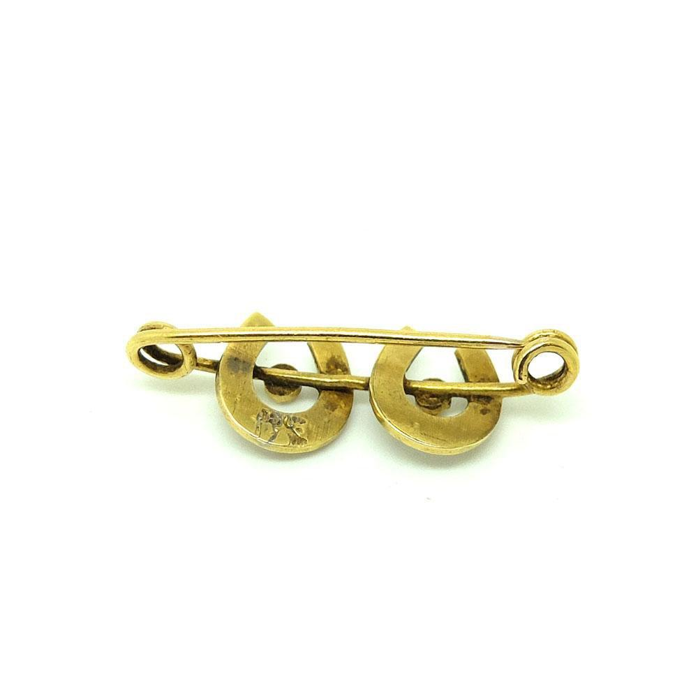 Antique Victorian Horseshoe Diamond & Seed Pearl 15ct Gold Brooch
