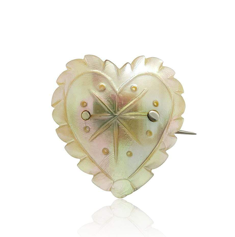 VICTORIAN Brooch Antique Victorian Mother of Pearl Heart Brooch