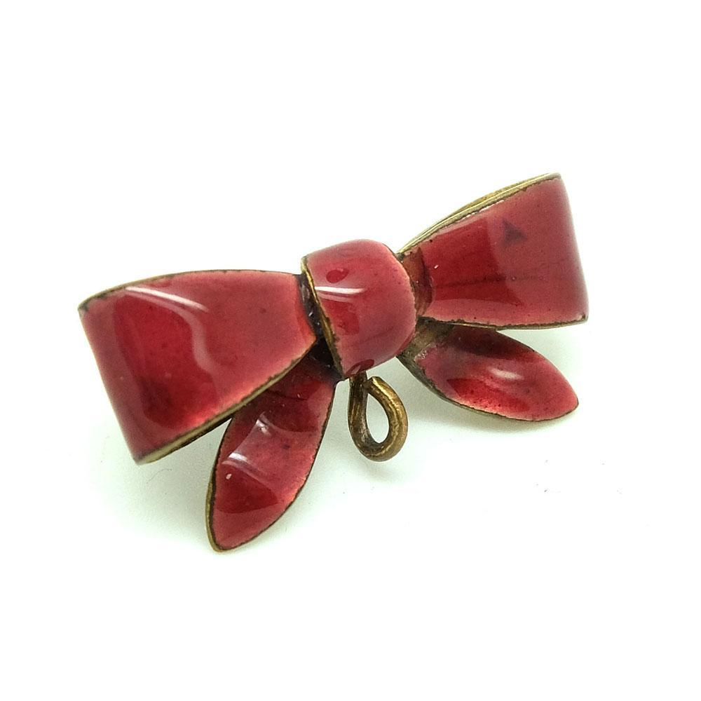 Antique Victorian Red Enamel Bow Brooch