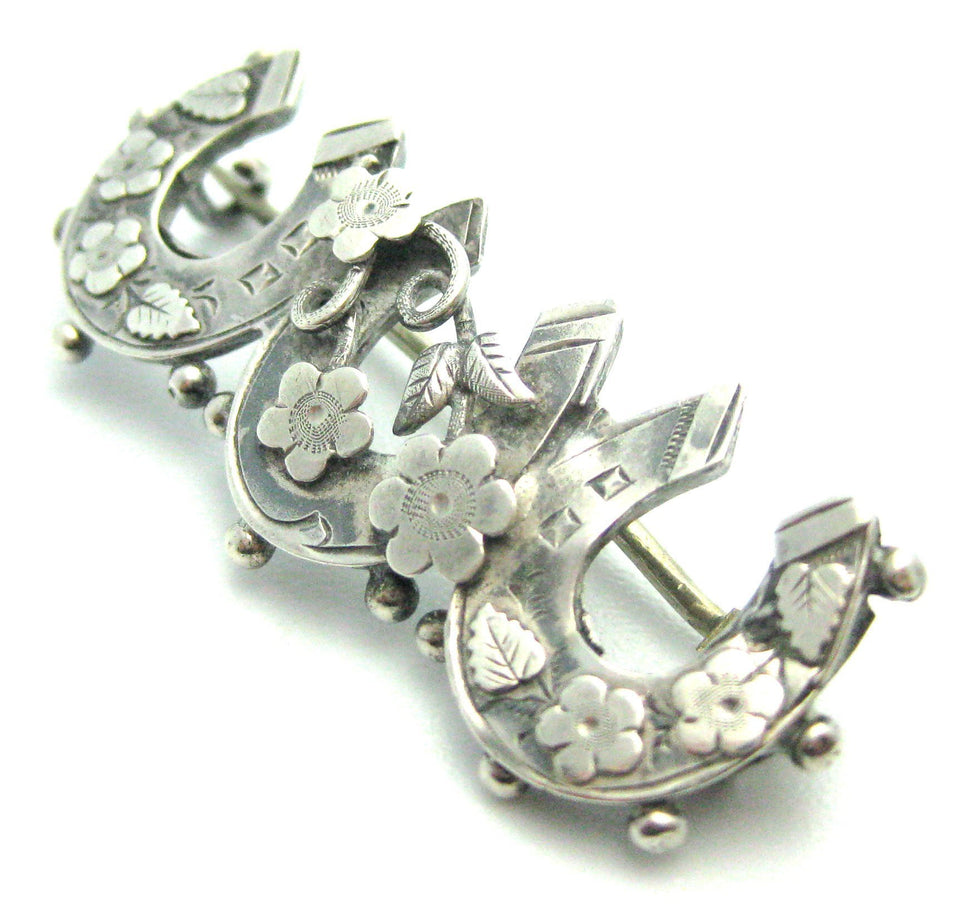 Antique Victorian Silver Horseshoe Brooch