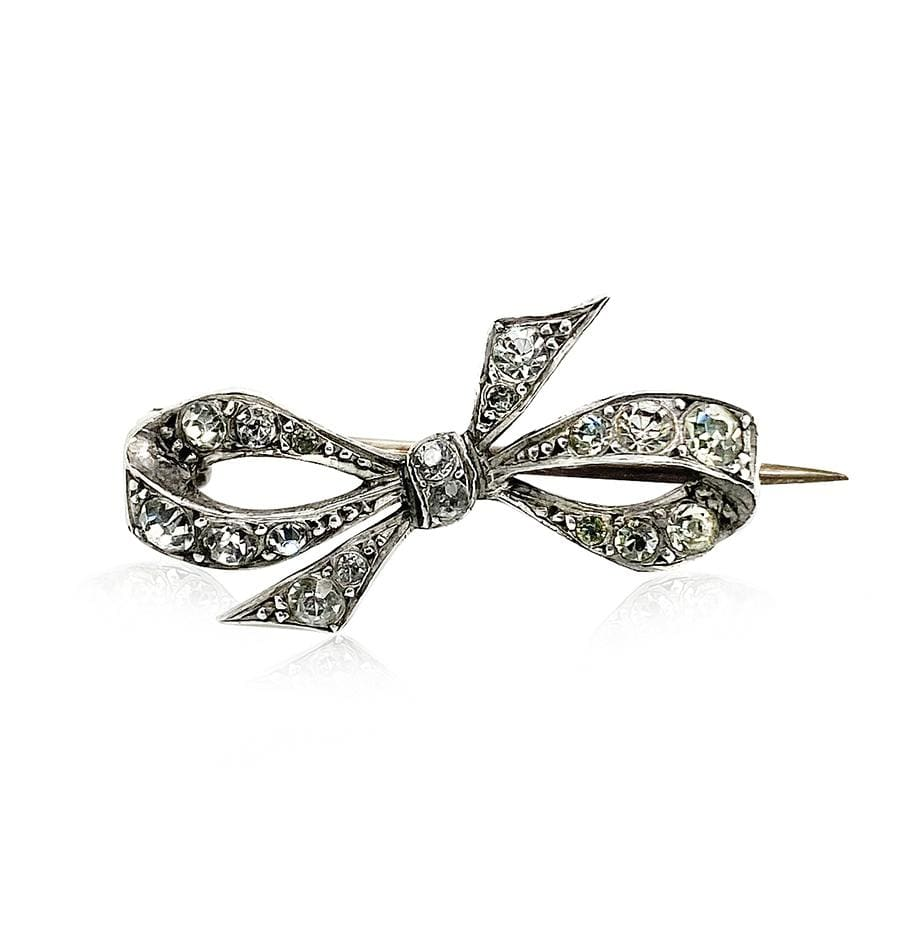 VICTORIAN Brooch Antique Victorian Sterling Silver Paste Bow Brooch