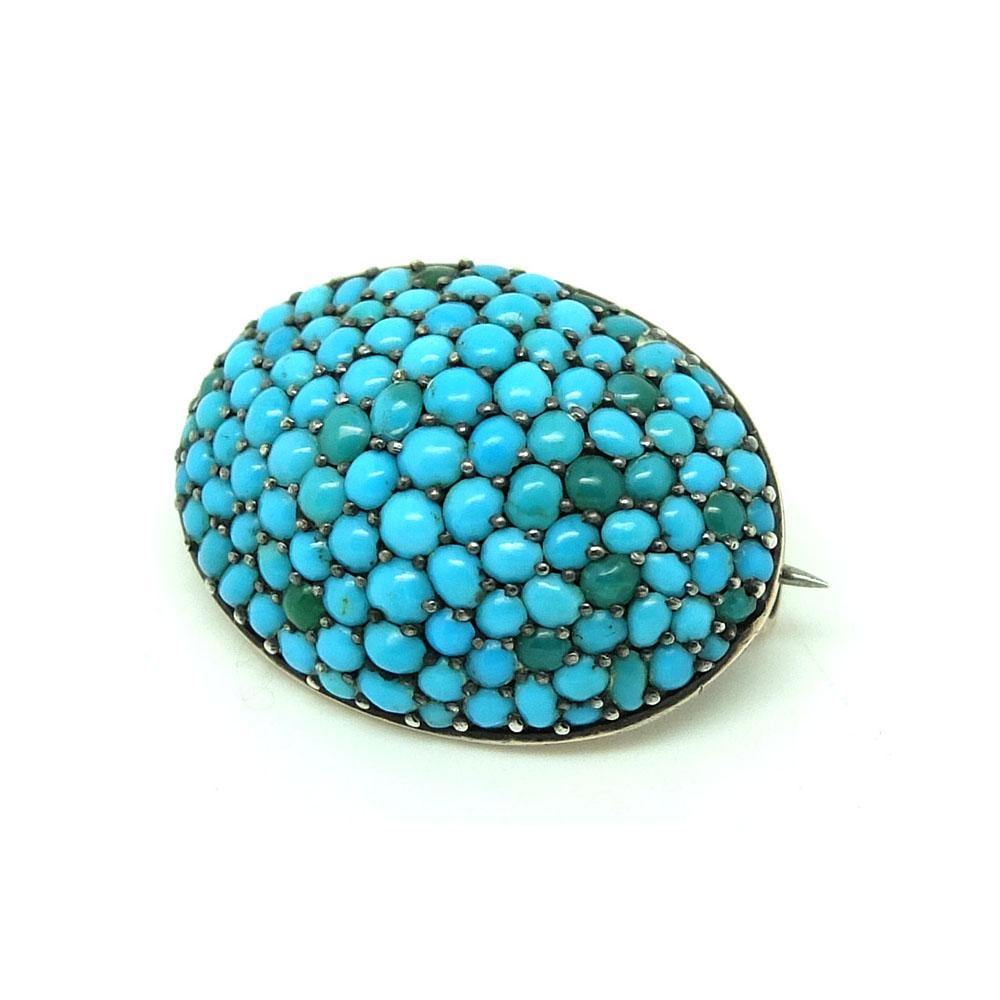 Antique Victorian Turquoise Pave 9ct Rose Gold Brooch