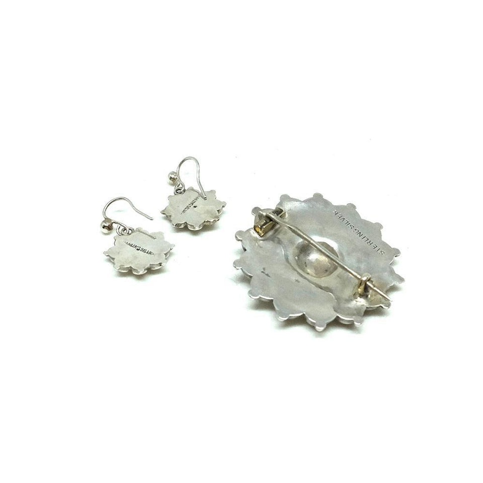 Antique Victorian Silver Sun Brooch & Earrings Set