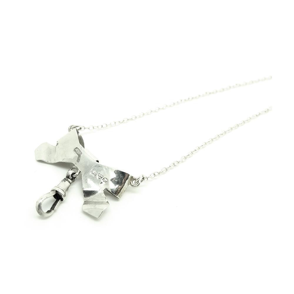 Vintage 1960s Engraved Sterling Silver Bow Necklace
