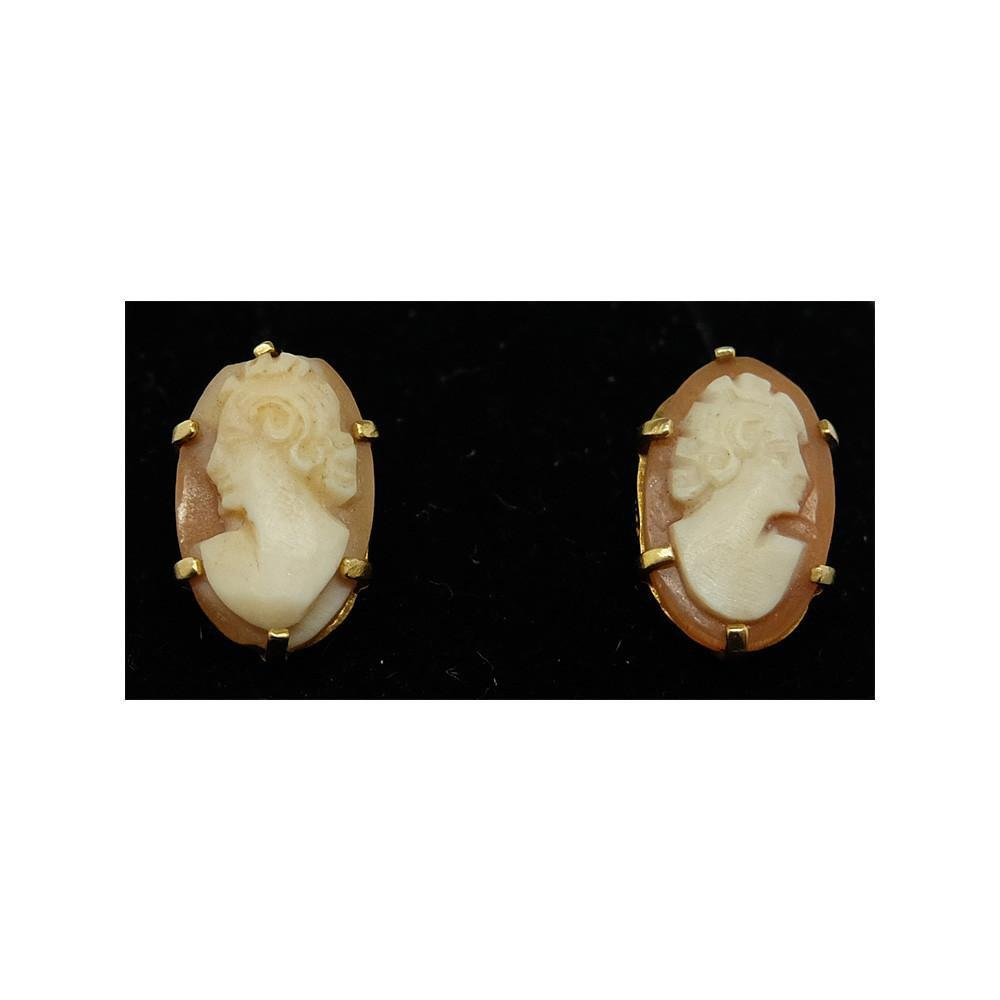 Antique Victorian (1837-1901) Cameo 9ct Gold Drop Earrings