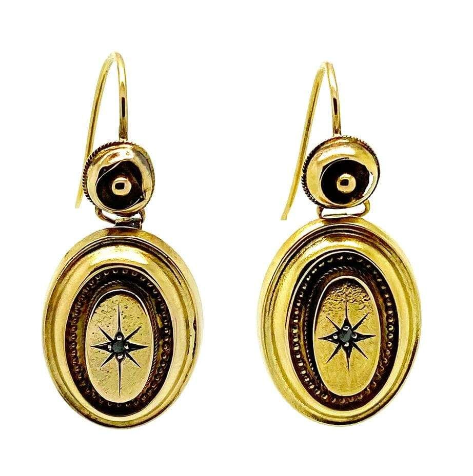 VICTORIAN Earrings Antique Victorian 9ct Gold Diamond Star Drop Earrings