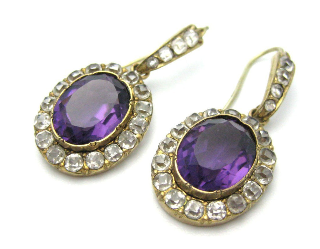 Antique Victorian Gold Amethyst Earrings