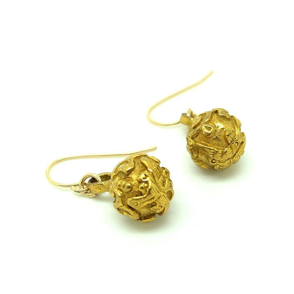 Antique Victorian Japanese Gold Filled Button Earrings