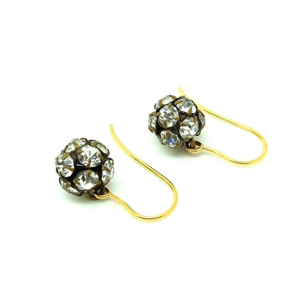 Antique Victorian Paste Drop 9ct Gold Earrings