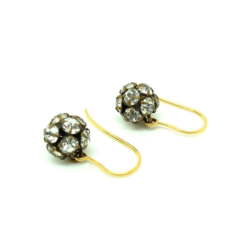 Antique Victorian Paste Drop 9ct Yellow Gold Earrings