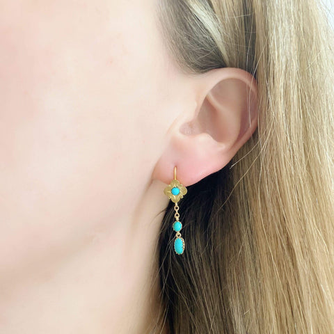 VICTORIAN Earrings Antique Victorian Turquoise 15ct Gold Drop Earrings