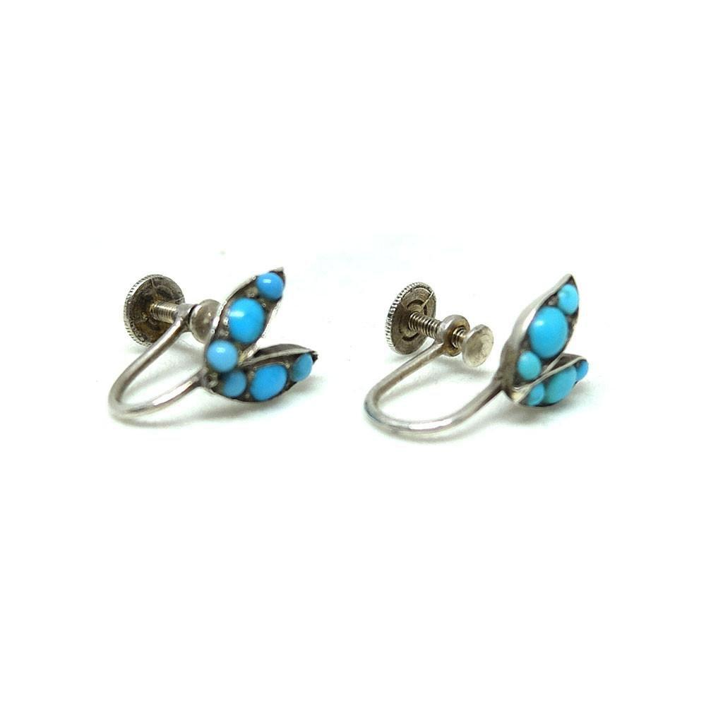 Antique Victorian Turquoise Sterling Silver Screw Leaf Gemstone Earrings
