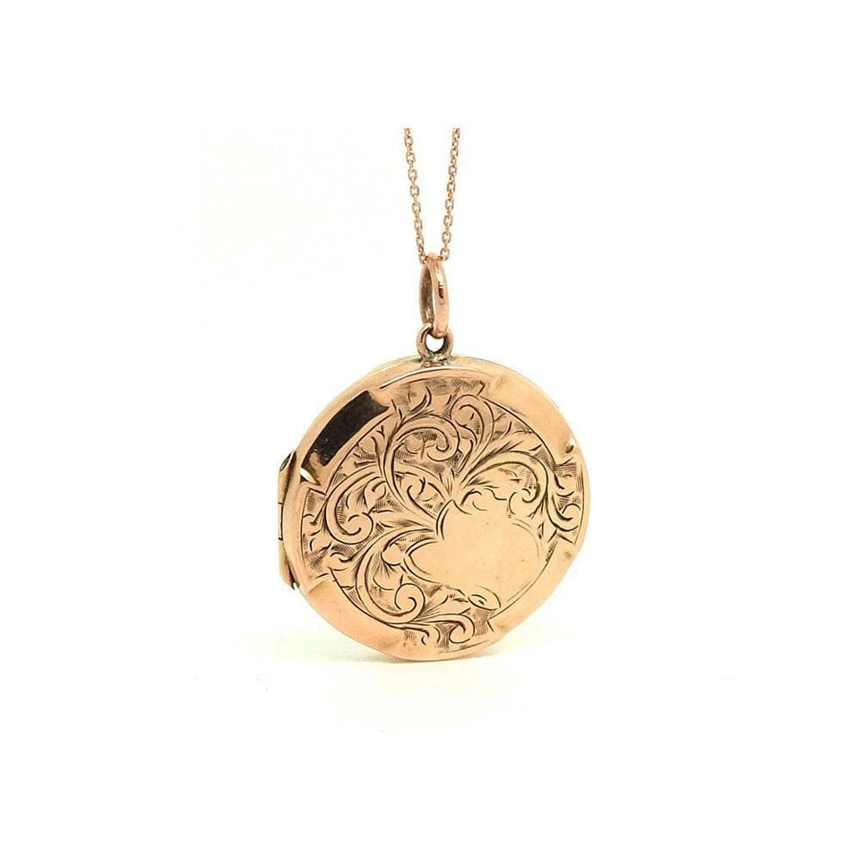 Antique Victorian (1837-1901) Etched 9ct Rose Gold Locket