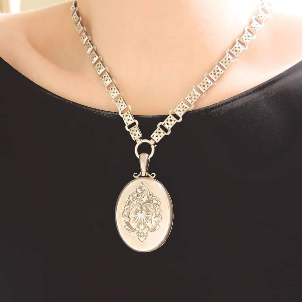 Antique Victorian 1859 Large Ornate Silver Locket Necklace