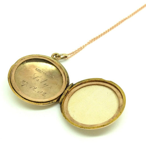 VICTORIAN Necklace Antique Victorian 1901 9ct Gold Locket Necklace