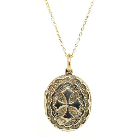 Antique Victorian 1901 9ct Gold Locket Necklace