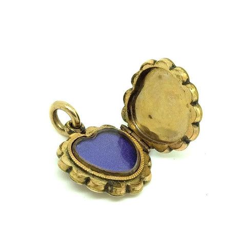 VICTORIAN Necklace Antique Victorian 9ct Gold Enamel Heart Locket Necklace