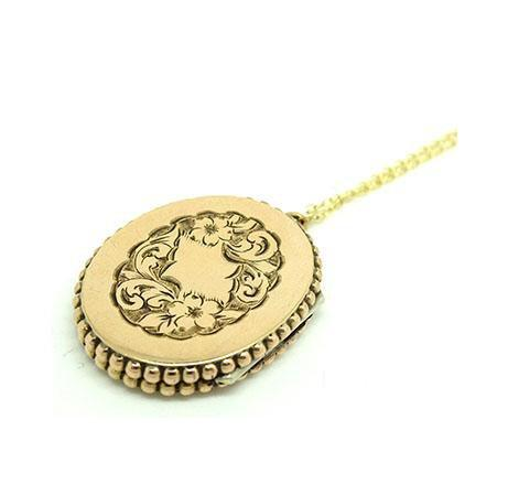 Antique Victorian 9ct Gold Engraved Locket Necklace