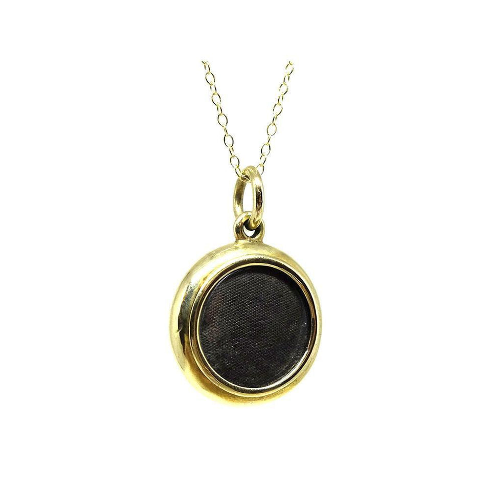 Antique Victorian 9ct Gold Glass Locket Necklace