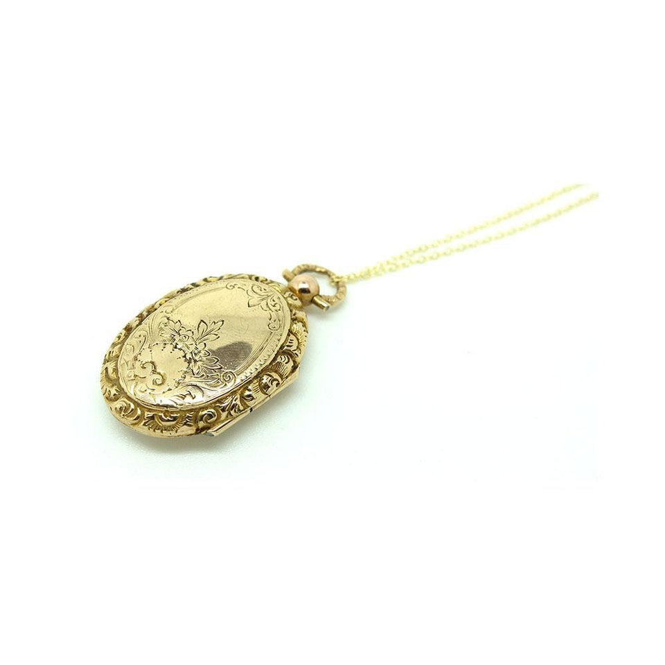 Antique Victorian 9ct Gold Locket Necklace