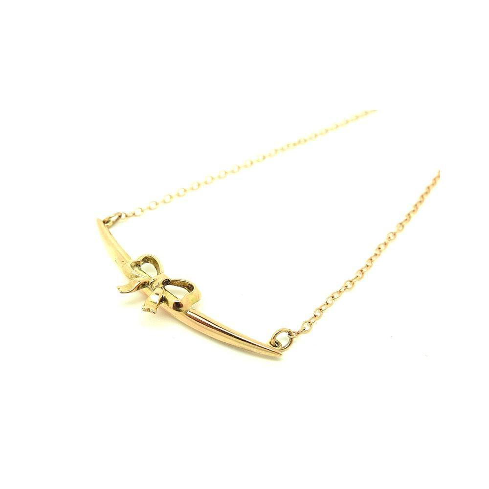 Antique Victorian 9ct Rose Gold Crescent Bow Necklace