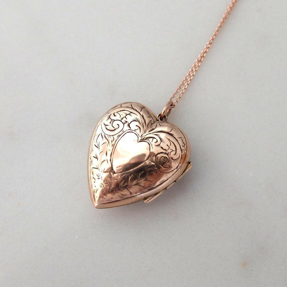 Antique Victorian 9ct Rose Gold Engraved Locket Necklace