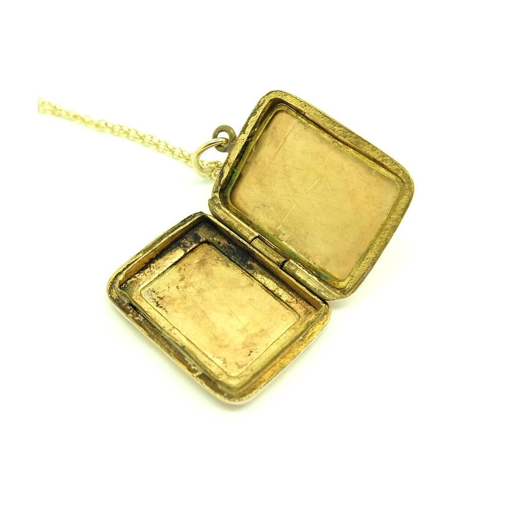 VICTORIAN Necklace Antique Victorian 9ct Rose Gold Rectangular Engraved Locket Necklace
