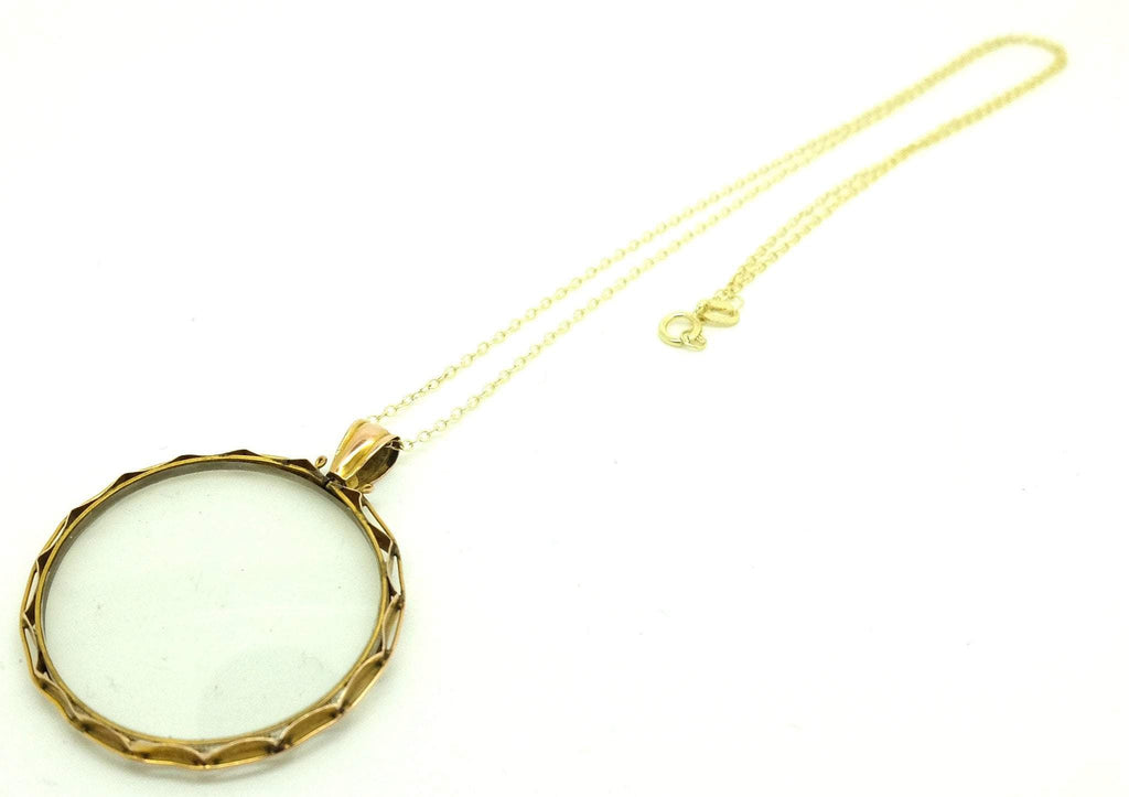 Antique Victorian 9ct Yellow Gold Glass Locket Necklace