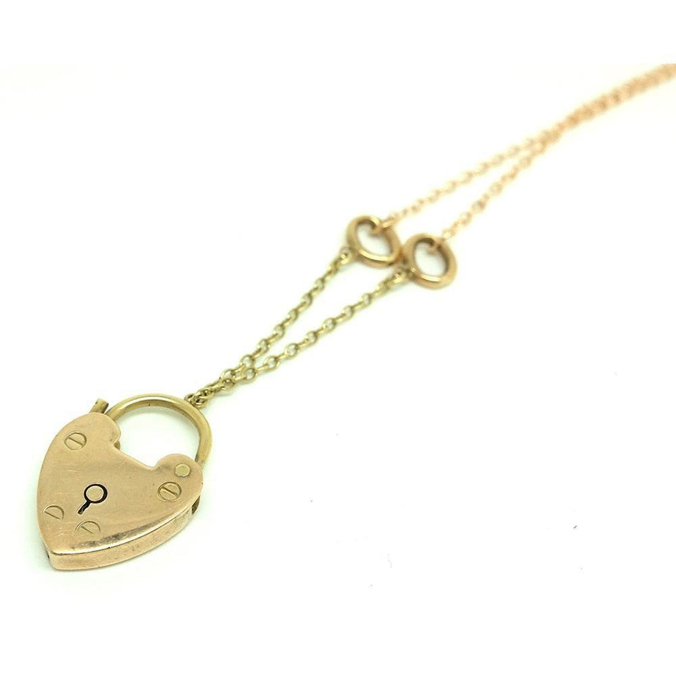 Antique Victorian 9ct Yellow Gold Heart Lock Necklace
