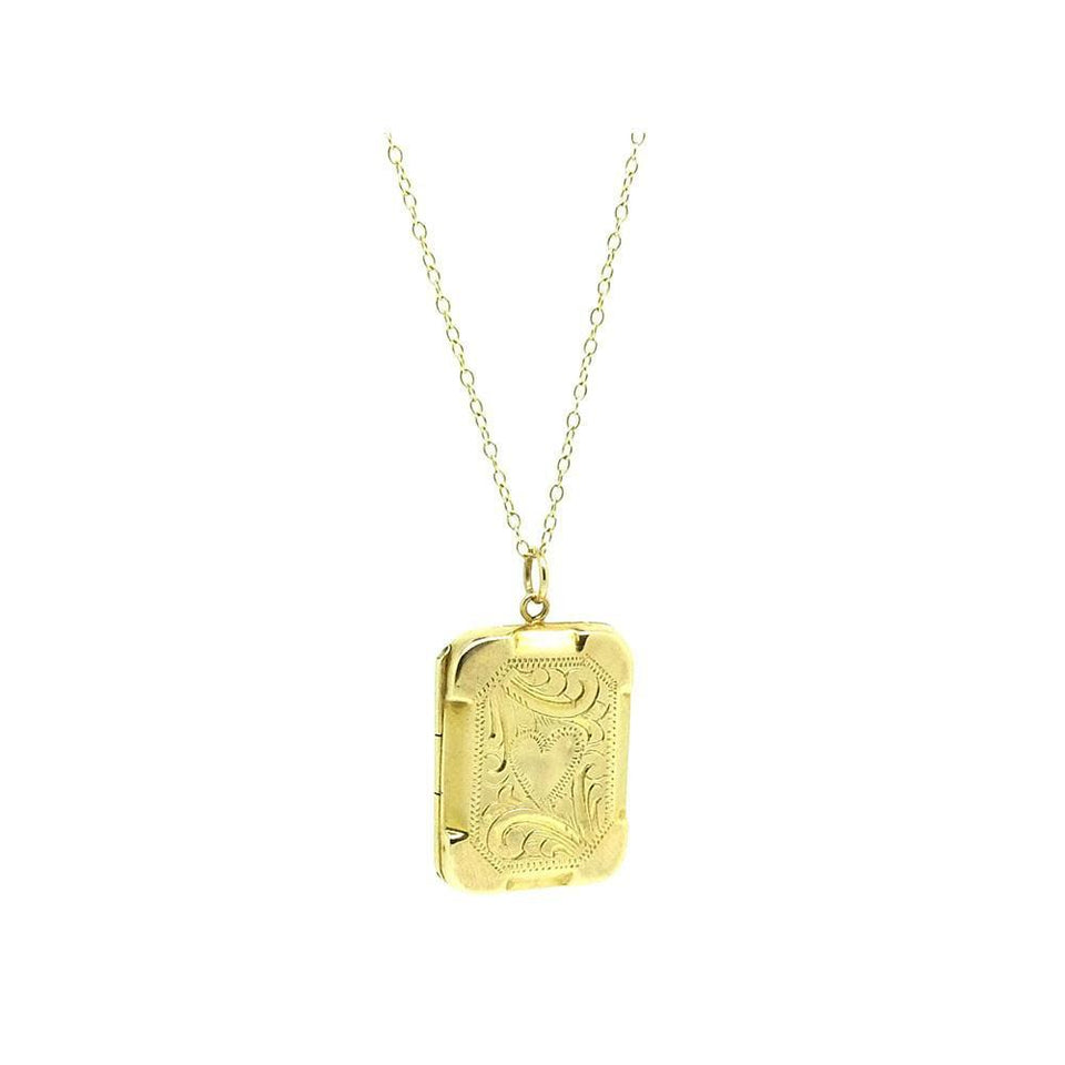 Antique Victorian 9ct Yellow Gold Heart Locket Necklace