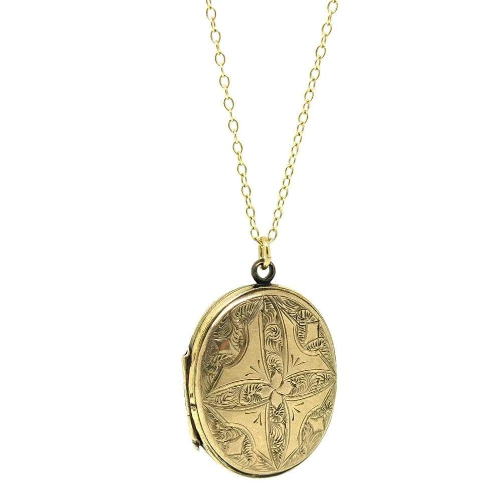 VICTORIAN Necklace Antique Victorian 9ct Yellow Gold Oval Locket Necklace