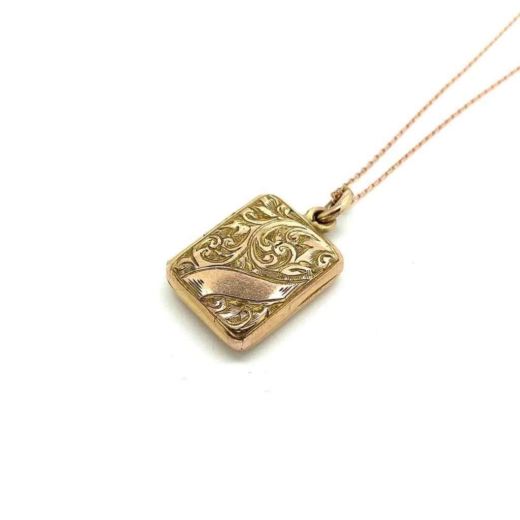 VICTORIAN Necklace Antique Victorian 9ct Yellow Gold Rectangular Locket Necklace