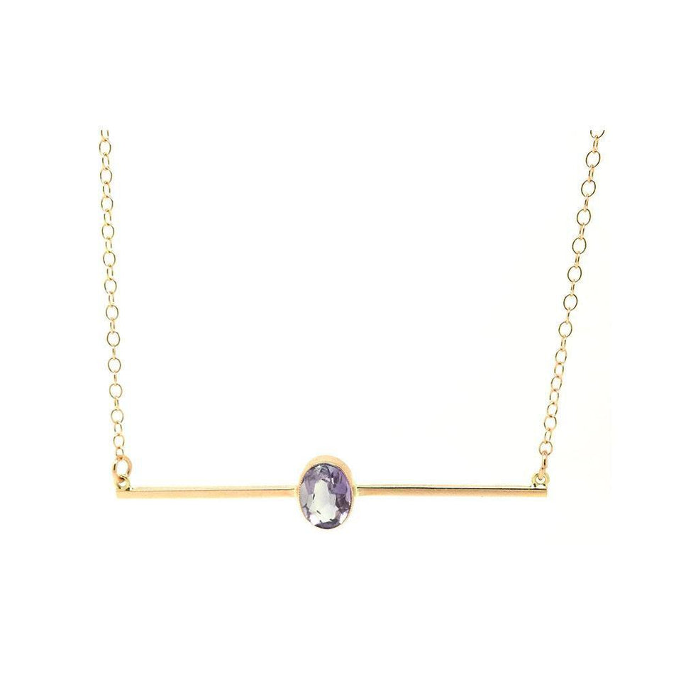 Antique Victorian Amethyst 9ct Rose Gold Bar Necklace