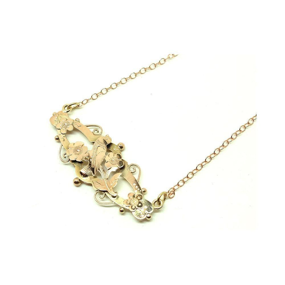 Antique Victorian Bird & Flowers 9ct Gold Conversion Necklace