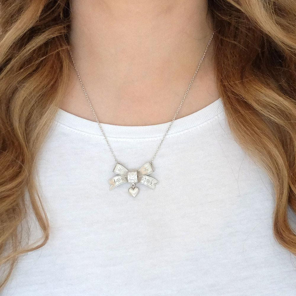 Antique Victorian Bow & Heart Conversion Necklace