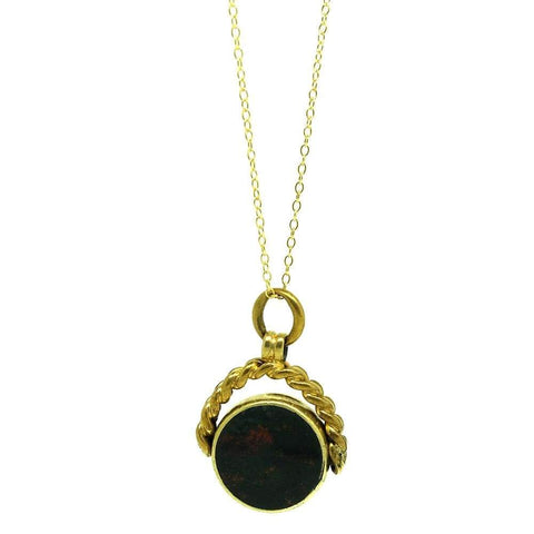 Antique Victorian Oval Brass Locket Necklace