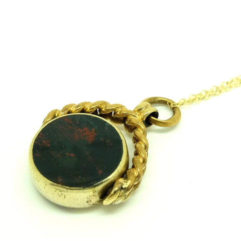 VICTORIAN Necklace Antique Victorian Carnelian Bloodstone Fob Necklace