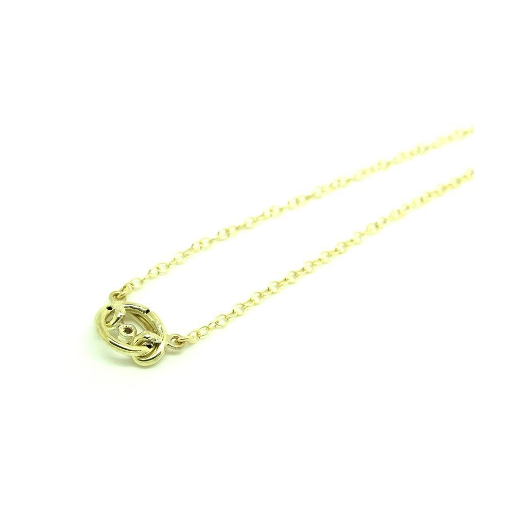 Antique Victorian Diamond Knot 9ct Gold Necklace
