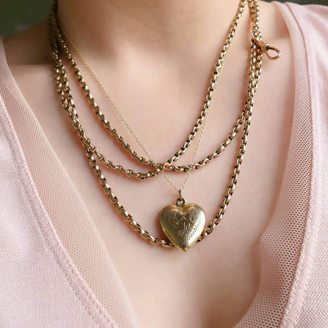 Antique Victorian Faceted Belcher 9ct Gold Extra Long guard Muff Chain Necklace