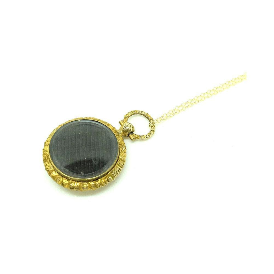 Antique Victorian Gilt Fob Locket Necklace