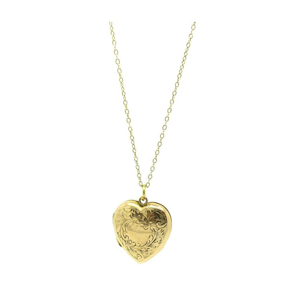 Antique Victorian Gold Engraved Heart Locket Necklace