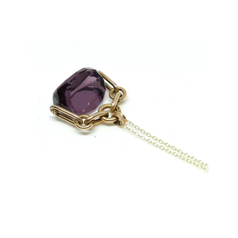 Antique Victorian Gold Filled Swivel Purple Glass Fob 9ct Necklace
