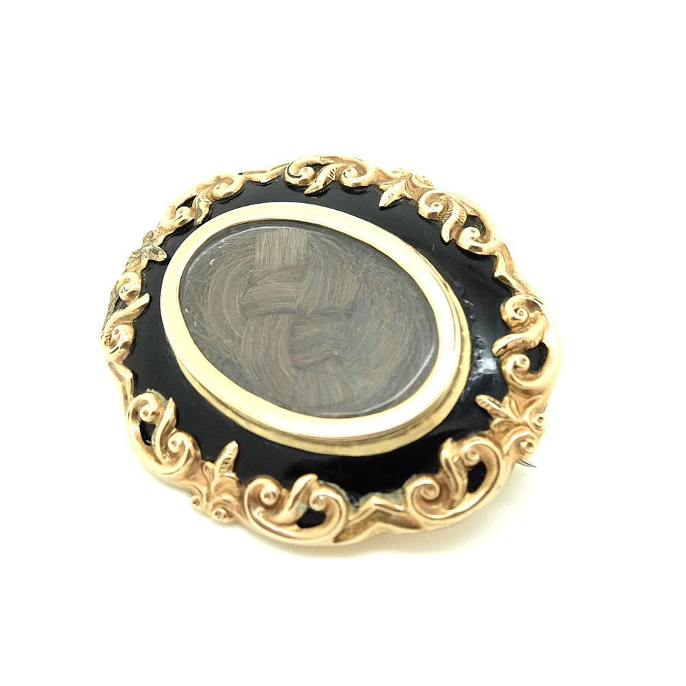 Antique Victorian Gothic Black Enamel & Gold Plated Mourning Brooch